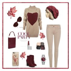 Burgundy and Beige by knitsbynat on Polyvore featuring Vivienne Westwood Anglomania, 7 For All Mankind, e.l.f., JustFab, Knits By Nat, Rolex and Casetify
