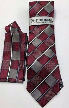 Stacy Adams Tie & Hanky Set Burgundy, Black, Gray & White Men's 100% Microfiber #StacyAdams #Tie