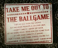 vintage take me out to the ballgame sign for baseball bedroom ;) Need this for the boy's room Pearl Pearl Liu Wermerskirchen Baseball Party, Baseball Season, Baseball Mom, Baseball Stuff, Baseball Crafts, Phillies Baseball, Softball Mom, Football, Take Me Out