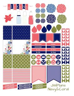 PRINTABLE Erin Condren Planner Navy and by PricklyPearDesignCo