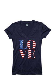 Team USA Shop Womens Navy Blue Love Graphic V-Neck
