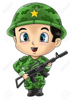 Cute Cartoon Illustration Of A Soldier Stock Photo, Picture And Royalty Free Image. Cartoon Kids, Cute Cartoon, Flashcards For Kids, Military Drawings, Coloring Pages For Boys, Banner Printing, Drawing For Kids, Islamic Art, Cartoon Characters