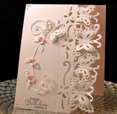 Barbie Bday July 2017 Butterfly die from China. Designed and created by Peggy 3d Cards, Paper Cards, Butterfly Cards, Flower Cards, Handmade Birthday Cards, Greeting Cards Handmade, Cards Made With Unbranded Dies, Crafters Companion Cards, Marianne Design