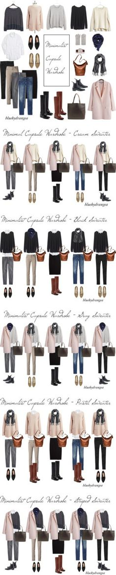 Minimalist Capsule Wardrobe - Winter 2015 by bluehydrangea who is my FAVORITE on… Mode Outfits, Fall Outfits, Casual Outfits, Fashion Outfits, Womens Fashion, Fashion Tips, Fashion Trends, Fashion Clothes, Style Clothes