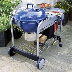 Weber® Performer Platinum Charcoal Grill Blue   Crate and Barrel