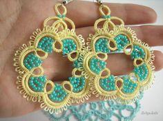 Earrings Light Yellow tatted lace Topaz Lemon por Zelgulab