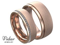 His and Hers Diamond Wedding Band Set,Unique Matching Wedding Rings,Unique Ring,Unique Matching Bands,Eternity,Brushed Rose Gold Ring Set by Vidarjewelry on Etsy