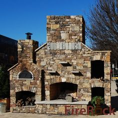 FireRock Outdoor Fireplace Kit and Outdoor Oven with Wood Box