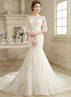 #DressWe - #DressWe First-Class Half Sleeves Appliques Scoop Neck Court Train Wedding Dress - AdoreWe.com