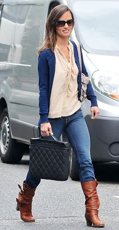 Who says navy blue, tan, and black, can't pair well together? Pippa Middleton works the look by including other neutrals.