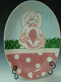 Easter Bunny with Foot Prints at #theaccidentalartist