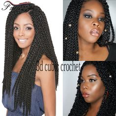 High Quality Kanekalon Braids Hair 3D Cubic Twist Crochet Braids Ombre 22inch 120g/pack Ombre Crochet Braid Hair Extensions