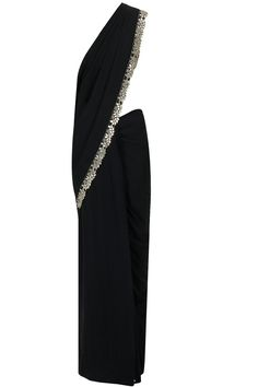 Black embroidered sari with sheer laced blouse available only at Pernia's Pop-Up Shop.