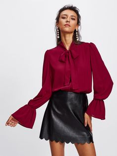 Shop Elastic Trumpet Cuff Bow Tied Blouse online. SheIn offers Elastic Trumpet Cuff Bow Tied Blouse & more to fit your fashionable needs.
