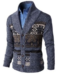 Mens Casual Nordic Patterned Knited Shawl Collar Cardigan