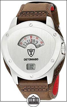DeTomaso Compasso XXL Retro - Reloj de cuarzo para hombres, correa de cuero de color marrón, esfera plateada de  ✿ Relojes para hombre - (Gama media/alta) ✿