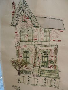 Cabbage Town, Toronto. November 2014Stitching houses! By Harriet Riddell