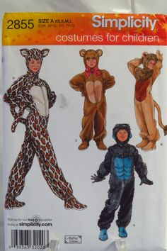 Simplicity 2855 Children's Costumes