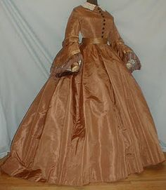 1860s copper silk visiting dress