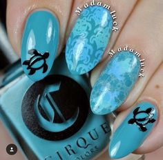 Ocean themed mani by @madamluck. Using our Surfer Turtle Nail Decals. Find them at: snailvinyls.com