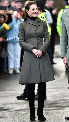 Kate Middleton in an olive green coat