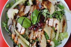 pears, cranberries and chicken salad