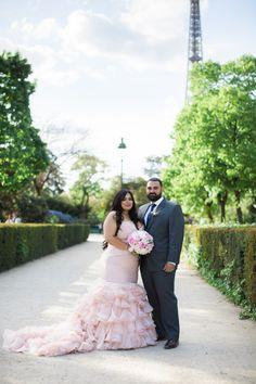 Paris Elopement Blush Wedding Dress Maggie Sottero Plus Size Bride Eiffel Tower