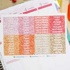 60 Duo Glitter Headers Sticker Planner | Red Orange by FasyShop on Etsy