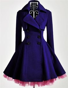 This coat is fantastic. The magenta tulle with the navy blue fabric are beautiful. The form-fitting top of the coat extending into a poofy, fun, and loose bottom of the coat is fabulous, as well.