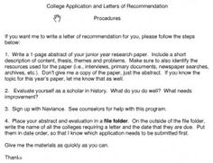 A Great College Recommendation Letter Template  High School