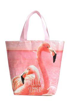 Пляжная сумка - Светло-розовый/Фламинго - HOME | H&M RU 1