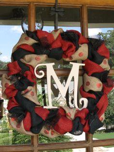 University of Georgia Square burlap wreath by PlumPerfectCreations, $45.00