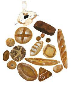 Formatos #pan Flat Illustration, Food Illustrations, Watercolor Food, Food Painting, Bakery Logo, Bakery Design, Food Drawing, Food Art, Drawings