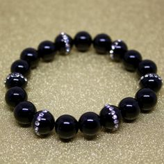 Bracelet Black Onyx Natural Agate Beads with by AgouraDesign