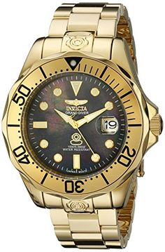 Men's Wrist Watches - Invicta Mens 13940 Pro Diver Black Mother of Pearl Dial Gold Tone Bracelet Watch -- You can get more details by clicking on the image. (This is an Amazon affiliate link)
