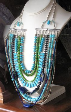 Turquoise and Lapis Statement Necklace The by JewelryfromTucson, $650.00