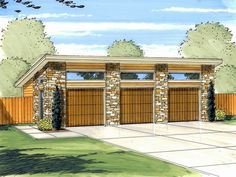 3 car garage for shop | Car Garage Plan, 050G-0035