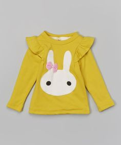 Yellow Bunny Face Top - Infant, Toddler & Girls #zulily #zulilyfinds