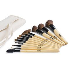 Karity Cosmetics Studio 12-Piece Natural Hair Makeup Brush Set With Pouch - Bamboo -- See this great product. (This is an affiliate link) #BrushSets