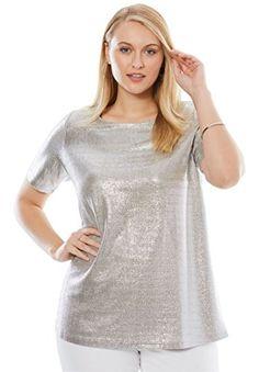 f4ec6c0c359e9 Jessica London Women s Plus Size Metallic Tee Silver