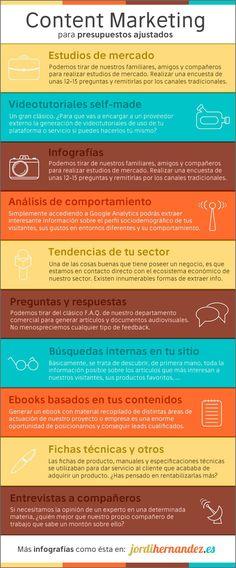 10 formas de hacer Marketing de Contenidos para bajos presupuestos #infografia #marketing