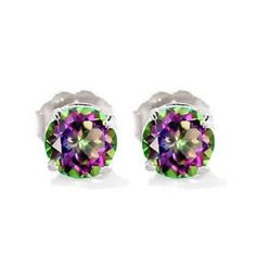 Natural 6MM Round Cut Mystic Topaz Stud Earrings In 14K White Gold 1.80 CTW  http://electmejewellery.com/jewelry/natural-6mm-round-cut-mystic-topaz-stud-earrings-in-14k-white-gold-180-ctw-couk/