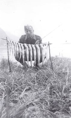 Throwback Thursday! Thomas Bouckley was an avid fisherman and went on annual fishing trips with friends. In this photo, c. 1942, he is in uniform. Making it most likely to have been taken while he was in the service and posted in British Columbia. The Walleye, Sauger and Northern Pike season open this Saturday on Lake Ontario and the St. Lawrence River. Happy fishing! Happy Fishing, Fishing Trips, St Lawrence, The St, Throwback Thursday, British Columbia, Ontario, To Go, Seasons