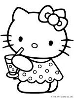 Hello Kitty Drinking Juice Coloring Pages For Kids Printable