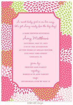 Floral baby shower invitation for girl