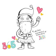 Doodle 140/365: Cotton Candy #365doodleswithjohannafritz Yummy! And it also makes a perfect Santa Beard  by byjohannafritz