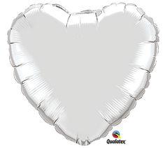 """#burtonandburton Silver Heart-shaped 18"""" foil Balloon. #balloons #heart_balloons"""