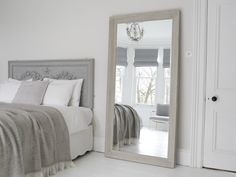 An exquisite, large grey mirror. Decadent and over-sized, with bevelled edges in grey distressed finish. The free standing mirror is perfect piece for leaning against a wall and gives an instant wow factor to any room. Great to complement living room furn Gray Bedroom, Bedroom Wall, Master Bedroom, Bedroom Decor, Bedroom Mirrors, Large Bedroom Mirror, Mirror Headboard, Bedroom Fun, Wall Decor