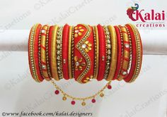 bridal bangles Silk Thread Bangles Design, Silk Thread Necklace, Silk Bangles, Beaded Necklace Patterns, Bridal Bangles, Thread Jewellery, Jewelry Patterns, Beaded Bracelets, Silk Art