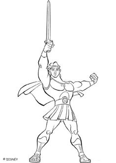 Beautiful coloring page of the famous hero Hercule. Color his sword and his knight clothes. A cool drawing for all the disney movies lovers.